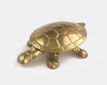 Solid Brass Tortoise Jewellery Box / Trinket Dish - turtle jewelry novelty ring box ornament figurine antique gold mirror metal piggy bank