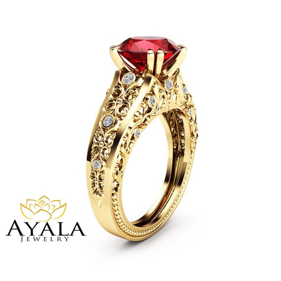 unique ruby engagement ring 14k yellow gold gemstone ring