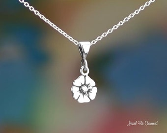 """Tiny Sterling Silver Poppy Necklace 16-24"""" Chain or Pendant Only .925"""