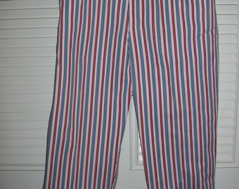 Vintage JUST REDUCED Cotton Red,White, and Blue Striped Capris Resort Ready Size 14 by Russ