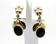 Onyx Dangle Earrings - Vintage, AMCO Signed, 12K GF, Onyx, Screw Back Earrings