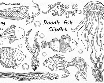 Doodle Fish Clipart, Nautical Clip art, Hand Drawn, Digital Fish Clip art, PNG, AI, EPS, vector, Line Art, For Personal and Commercial Use