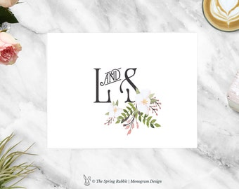 Watercolour Wedding Monogram - Pre made Wedding Monogram Design - Customizable invitations - DIY Wedding Invitation Set