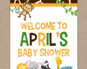 Jungle Baby Welcome Sign, Printable Baby Shower, Welcome Sign, Jungle, Safari, Welcome Sign, Party Sign, Boy, #0016