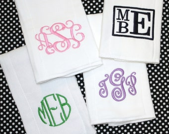 Monogrammed Burp Cloths - Personalized Baby gift