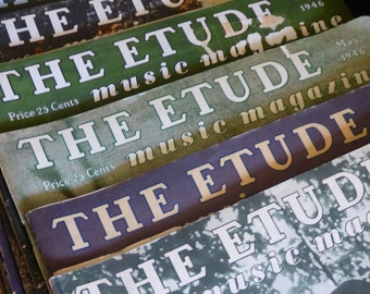 THE ETUDE Music Magazines - 1940's 12 Issues - Vintage Musical Arts Magazines - 1940's - Clean - Individual Purchase Available - Collectible