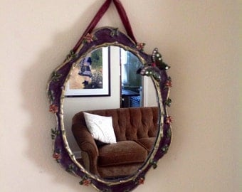 Very Cute Vintage Mirror......Fairy Tale Forest.....Butterflies and Flowers... Burgandy Colored Metal Frame.