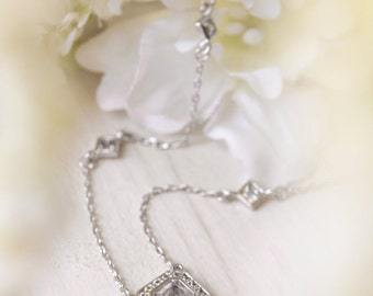 Sterling Silver Necklace, Bridal Necklace, Cubic Zirconia Necklace, Bridal Jewelry, Wedding Jewelry, N232WLN329S