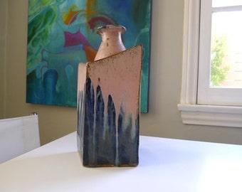 Very Large Handcrafted Slab Stoneware Vase, Mid Century Modern Pottery
