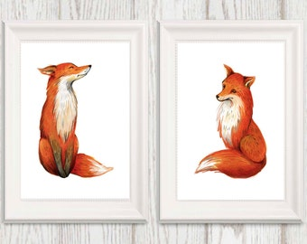Fox print Fox printable wall art Orange Fox Nursery art Woodland nursery decor Set of 2 Boys Watercolor fox art 8x10 16x20 INSTANT DOWNLOAD