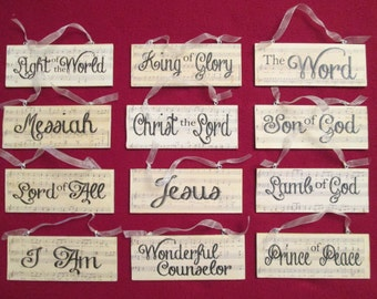 The Names of Christ Wooden Plaque Ornaments, Set of 12 Ornaments, Names of Jesus, Christmas Carols, Ornaments, Christ-Centered Christmas