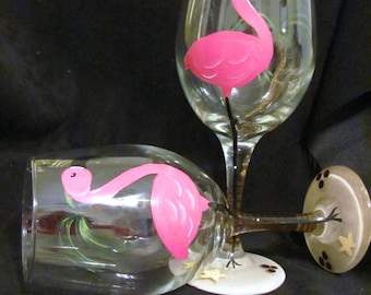 Pink Flamingo - Hand Painted Wine  Glasses (Set of 2)