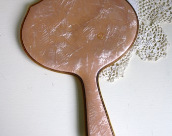 Celluloid Hand Mirror Peach Pink Marbleized Beveled Mirror Vanity Decor