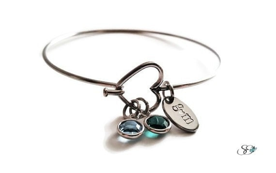 Heart Bangle Bracelet; Love Relationship Gift, Stamped Initial Charms, Crystal Birthstones, Silver Significant Other Special Valentines Gift
