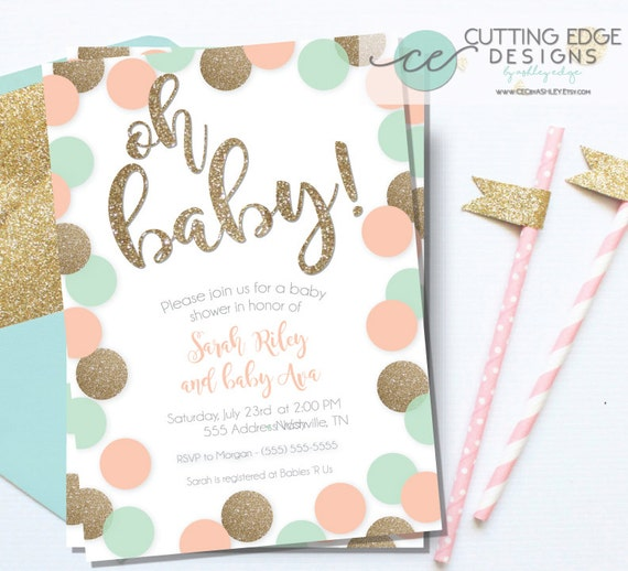 baby shower invitation peach mint and gold glitter printable