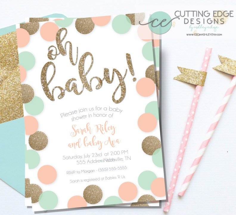 baby shower invitation peach mint and gold glitter