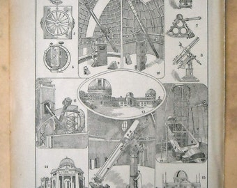 1935 ASTRONOMY, Mount Wilson Observatory, Yerkes Observatory  ... Antique print... 81 years old nice print!