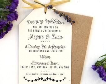 Rustic, Lavender and Raffia Bow Evening Invitation