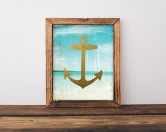 Anchor Art Print,  Beach Print, Metallic Gold Anchor, 8x10 Printable Instant Download, Digital File, Home Decor