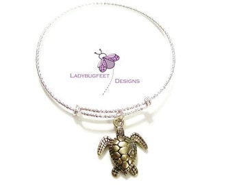 2-Tone SEA TURTLE BANGLE, Diamond Cut 925 Sterling Silver Adjustable bangle bracelet, charm bracelet