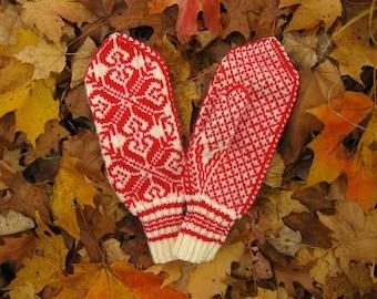 Handknit Scandinavian Mittens Selbu, Norway Rose, Red on Off-White. Sport weight 100 % wool yarn. Large woman's/medium man's size.