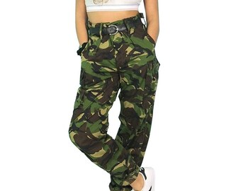 Vintage Women's British army soldier 95 camo trousers pants military camouflage cargo combat woodland DPM high waisted