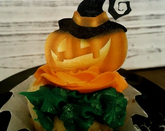 Edible Paper Halloween  Pumpkin Cupcake Toppers