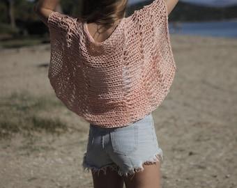 Blush peach shrug, loose weave shrug, peach cropped sweater, peachy salmon bolero, hand knit cotton shrug, peach summer cotton shrug