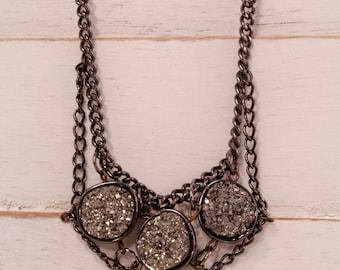 Hematite druzy and gun metal chain necklace