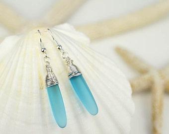 Long dangle earrings blue sea glass earrings blue earrings wire wrapped earrings wire wrapped jewelry sea glass jewelry seaglass gift