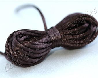 Rattail Cord, 25m Knotting Rat Tail Cord, 2mm Satin Rattail Cord, D.Brown Rope Cord, Knotting Threading Beading Cord, Rattail Cord / SRC-007