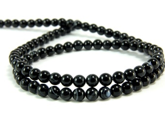 Agate Beads, 4mm Round Black Agate Bead Strands, 1 Full Strand Semiprecious Gemstone Beads, Loose Beads, Agate Bead Findings, FIRST QUALITY