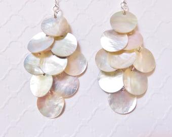 Long Shell Dangle Earrings - Mussel Shell Earrings, Natural, Big Earrings, Beach Jewelry, Beach Wedding, Chandelier Earrings, Boho Jewelry
