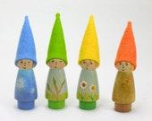 Seasonal Gnomes set of 4, wooden peg dolls, wool felt toy, wooden kids toy, gnome toy, nature table, handmade kids toy,