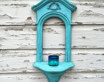 Vintage Upcycled Homco votive sconce RARE