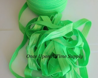 Neon Lime Green Fold Over Elastic for Baby Headbands -  5 Yards of 5/8 inch FOE - Craft Embellishment Solid Color Elastic By The Yard