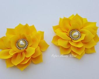 Yellow flower hair clip, Yellow hair clip, Flower hair clip, Kanzashi flower, Kanzashi hair clip, Yellow kanzashi, Flower hair clip