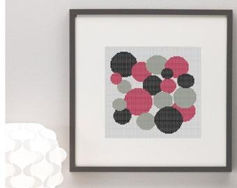 Geometric Circles Cross Stitch Pattern