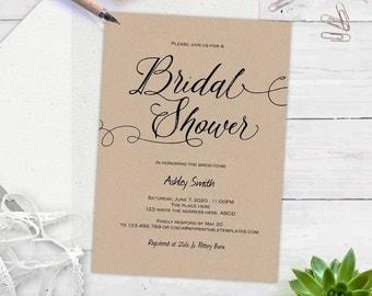 Printable, rustic Bridal shower invitations, instant download, Bridal shower invites, printable, templates, editable text  s5