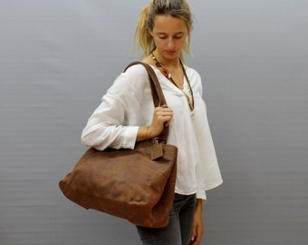 Sale!!! Soft leather tote bag Brown Leather shoulder bag Tote Handmade bag