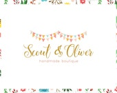 Bunting Premade Logo Design & Blog Header - Web and Print Files - Limited Edition! Perfect For Boutique, Handmade Shop, Daycare + more!