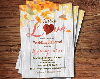 Fall Wedding Rehersal invitation. Fall in love bridal shower. Rustic autumn leaves bridal shower printable digital invite. BS118