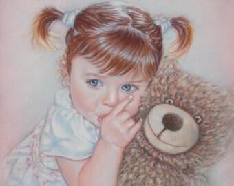 Custom Portrait Painting, Baby Portrait, Child Portrait, Family Portrait, Pastel Portrait from Photo