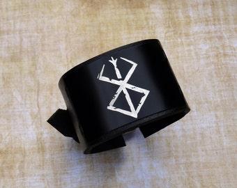 Berserk leather bracelet wrist / cuff - Brand of Sacrifice