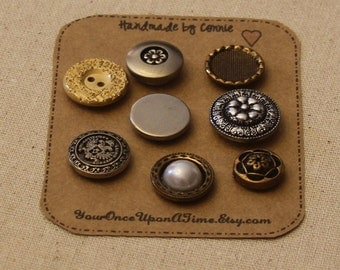 MAGNETS - Vintage style Button Magnets Magnet Set of 8 Refrigerator magnets Decorative Push pins Teacher Gift Fridge magnets Strong magnets