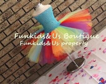 Rainbow Fairy Tutu Dress Party-irls 2 3 4 5 6 7 8 9 10 12   Newborn, dress-up girl- Rainbow Tutu Dress - Rainbow Fairy