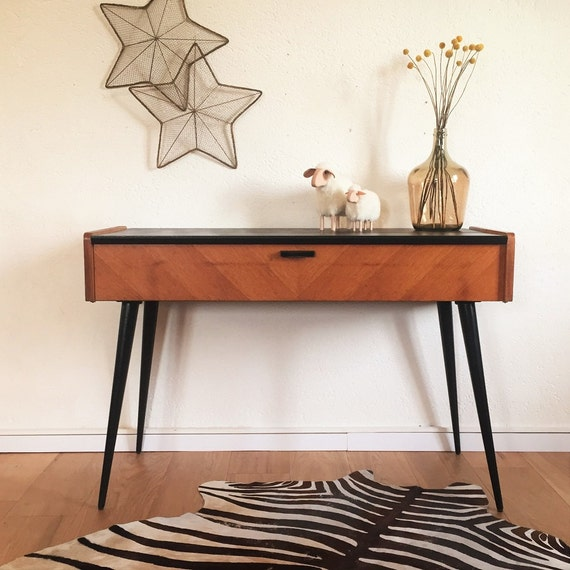 console bureau vintage scandinave bois noir pieds. Black Bedroom Furniture Sets. Home Design Ideas