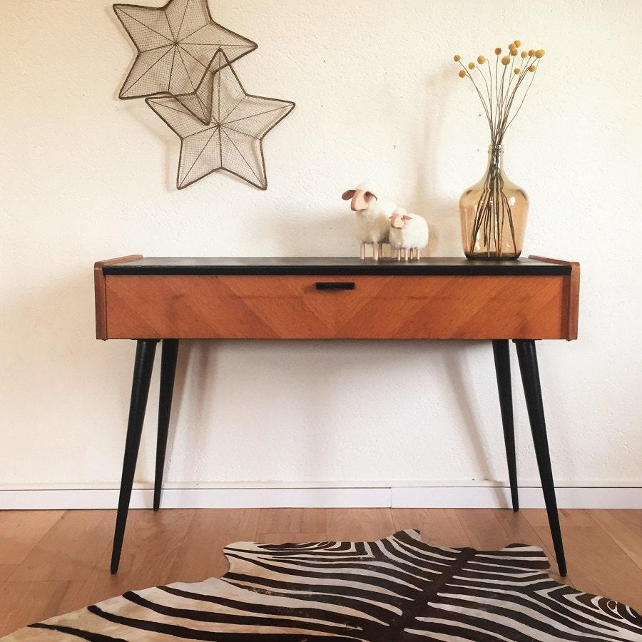 Console bureau vintage scandinave bois noir pieds - Console vintage scandinave ...