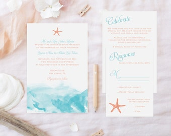 Watercolor Beach Wedding Invitation Suite-DIGITAL/PRINTABLE