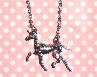 Silver Unicorn skeleton necklace